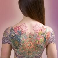 colorato motivi floreali con farfalle e uccelli tatuaggio sulla schiena