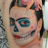 Colorful frida kahlo santa muerte tattoo