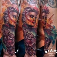 Colorful illustrative style forearm tattoo of bloody woman with heart