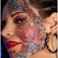 Colorful lotus face tattoo for girls