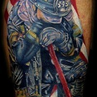Colorful memorial  firefighter tattoo