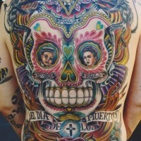 Colorful mexican dia de muertos tattoo on whole back