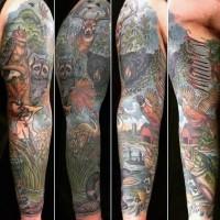 colorato naturale scene di natura con animali salvatici tatuaggio amanicotto
