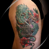 Colorful new style green plumed serpent with red roses and symbol aztec tattoo