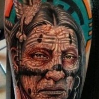 Colorful old indian forearm tattoo by Roman