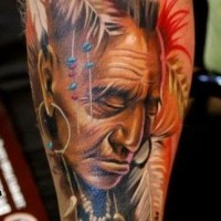 Colorful old native indian forearm tattoo by Turyanskiy