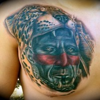Colorful portrait of aztec sacrificer in a helmet with a leopard head tattoo on chest