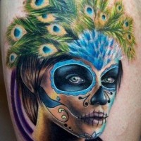 Colorful santa muerte in a headdress of peacock feathers tattoo
