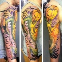 Colorful stunning looking sleeve tattoo of pumpkin ghost