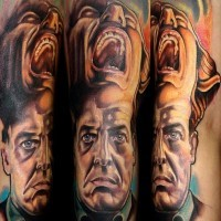 Colorful twin peaks movie horror tattoo on arm