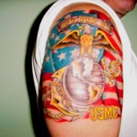 Colorful usms army tattoo on shoulder