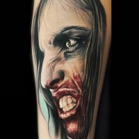 Colorful vampire horror tattoo