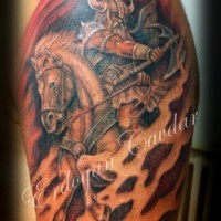 Colorful viking riding a horse tattoo
