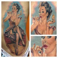 Colorful vintage pin up girl with red lipstick tattoo by Randy Engelhard