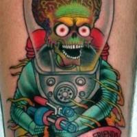 colorato aliene in una tuta spaziale tatuaggio