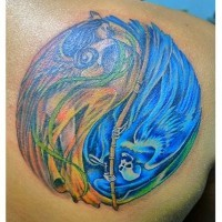 Coloured angel and grim reaper yin yang tattoo