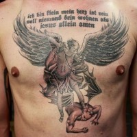 Coloured angel defeat demon and and religious statement tattoo