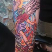 Tatuaggio colorato sulla gamba L'arcangelo Michele