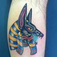 Coloured anubis tattoo on leg