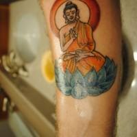 colorato buddha avambraccio tatuaggio