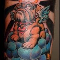 Coloured bulldog angel in heaven tattoo