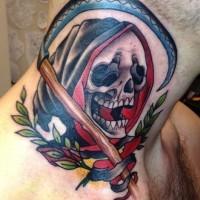 Coloured death with scythe tattoo on neck