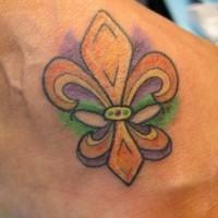 colorato fleur de lis tatuaggio sul piede