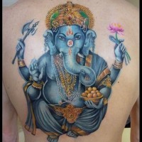 Coloured ganesha with a lotus in hand by Grimmy3D