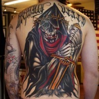 Coloured grim reaper with sword tattoo by Herb Auerbach