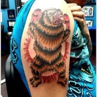 Farbiger Grizzlybär Boxkampier Tattoo auf halben Ärmel