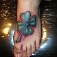 Farbiger irischer Klee Tattoo am Fuß