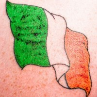 Coloured irish flag tattoo