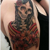 Coloured mexican girl skeleton tattoo