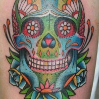 Coloured mexican sugar skull tattoo