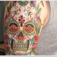 Coloured muertos mexican skull tattoo