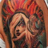 Coloured native american girl tattoo by Sivak