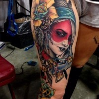 Coloured old school native american girl tattoo by Coty