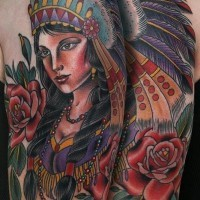 Coloured old school native american girl tattoo on shoulder by Stefan Johnsson