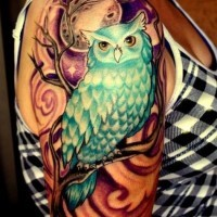 Tatuaggio colorato sul braccio la civetta & la luna