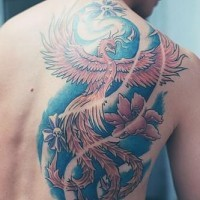 Coloured phoenix tattoo on shoulder blade