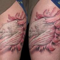 Coloured polar bear skin rip tattoo
