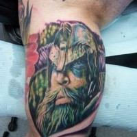 Coloured portrait of a viking in a helmet tattoo