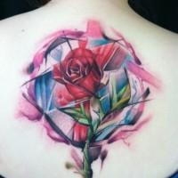 Colourful geometric rose tattoo on back