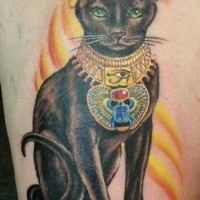 Coloured sacred egyptian cat tattoo