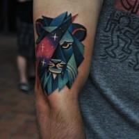 Tatuaggio stilizzato sul braccio il leone colorato