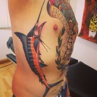 Coloured sword fish tattoo on ribs
