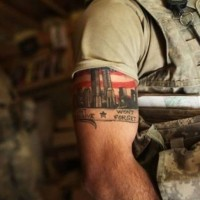 Coloured tattoo found on a us Army soldier in Afghanistan