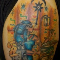Coloured tattoo in egyptian style
