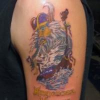 Coloured viking and ship tattoo on half sleeve