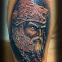 Coloured viking warrior tattoo on half sleeve